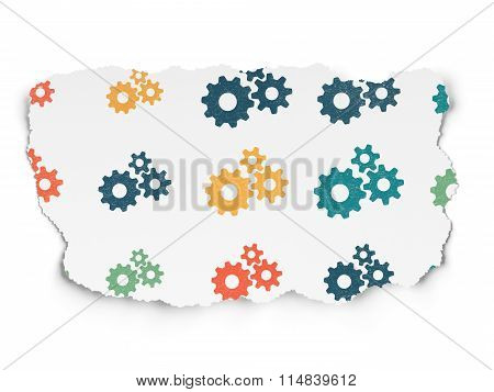 Web design concept: Gears icons on Torn Paper background