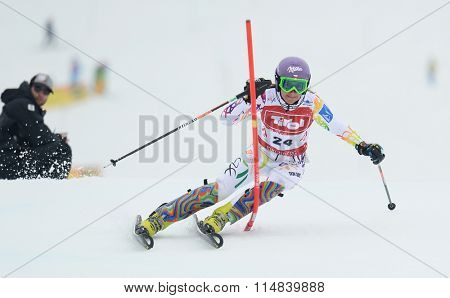 KIRCHBERG AUSTRIA - JANUARY 21 2014: Sarka Zahrobska during the FIS Alpine Ski Europa Cup Women's Slalom in Kirchberg, Austria