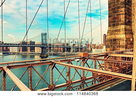 The Brooklyn Bridge and Manhattan at sunset, New York City