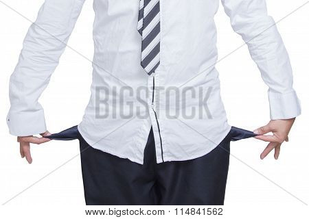 Business Man Showing His Empty Pockets On White