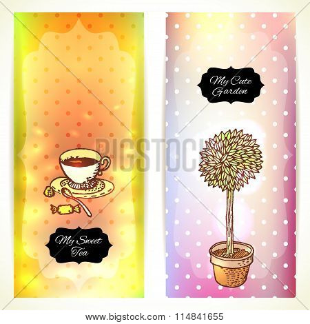 Tea In The Garden, Set Of Two Cute Banners.