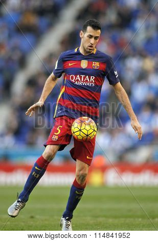 BARCELONA - JAN, 2: Sergio Busquets of FC Barcelona during a Spanish League match against RCD Espanyol at the Power8 stadium on January 2, 2016 in Barcelona, Spain