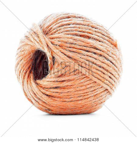 Orange Wool Clew, Sewing Yarn Ball Isolated On White Background
