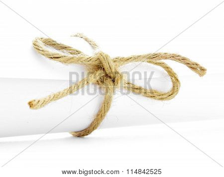 Handmade Natural String Knot Tied On White Message Package Isolated