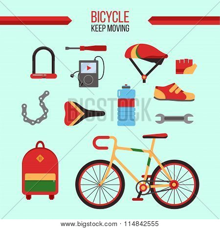 Bicycle Kit Keep Moving. City Bicycle With Accessories For Healthy Lifestyle