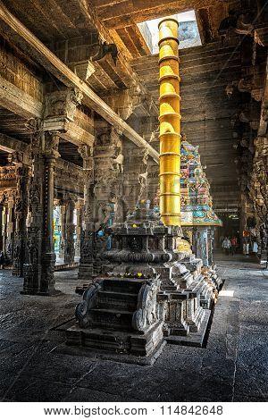 Inside Hindu temple -  Ekambareswarar Temple dedicated to Shiva, Kanchipuram, Tamil Nadu, India