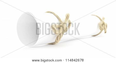 White Message Scroll Tied With String, Natural Nodes Couple Isolated