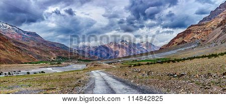 Panorama of road in Himalayas, Spiti valley, Himachal Pradesh, India