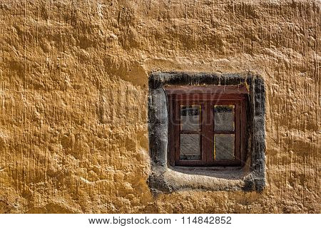 Window and wall, Tabo monastery of Tibetan Buddhist Gelug sect. Tabo, Spiti valley, Himachal Pradesh, India