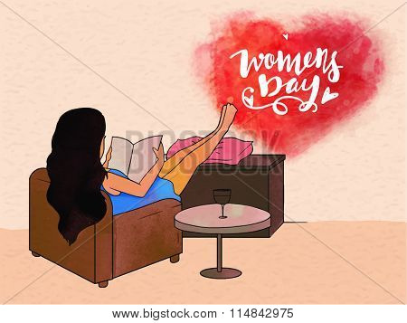 Illustration of young girl reading a book while lying on sofa for International Women's Day celebration.