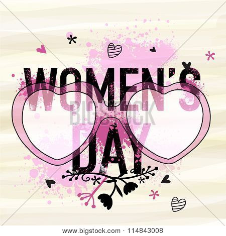 Beautiful greeting card design with creative heart shaped glasses for Happy International Women's Day celebration.