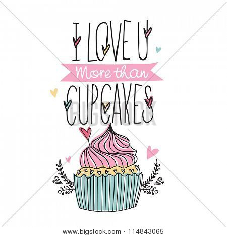 Elegant greeting card design with sweet cupcake for Happy Valentine's Day celebration.