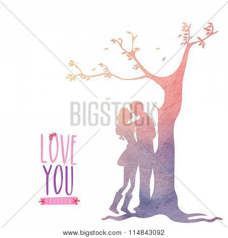 Elegant greeting card design with creative illustration of young couple in love under a tree on occasion of Valentine's Day celebration.