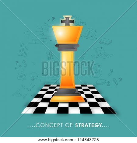 Glossy chess piece on chess board on infographic elements decorated background for Business Strategy concept.