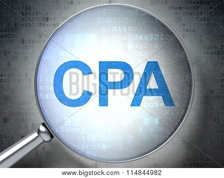Business concept: CPA with optical glass