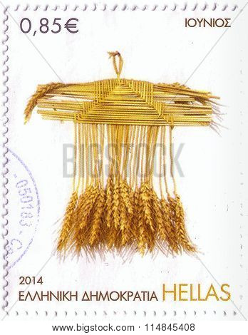 Greese - Circa 2014: Stamp Printed In Greese, Shows Ears Of Wheat, Circa 2014