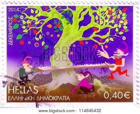 Greece - Circa 2014: A Stamp Printed In Greece, Shows Tree And Persons Sawing In By A Saw, Circa 201