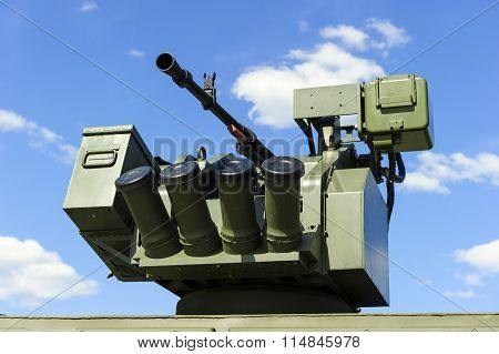 Gun turret with grenade launcher
