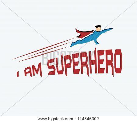 Superhero In His Uniform Flying Forward