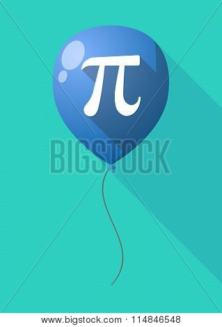 Long Shadow Balloon With The Number Pi Symbol