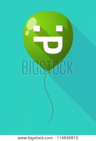 Long Shadow Balloon With A Sticking Out Tongue Text Face