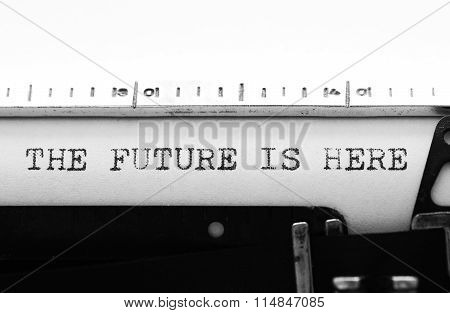 Typewriter. Typing Text: The Future Is Here