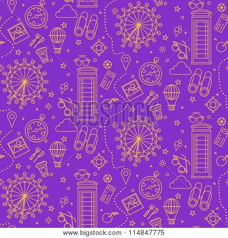 London Seamless Pattern With London Eye, Phone Box And Travel Elements