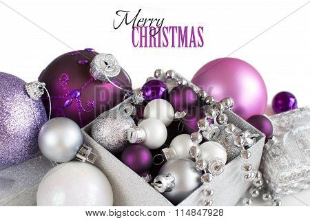 Silver And Purple Christmas Ornaments Border