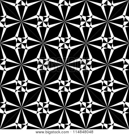 Vector modern seamless sacred geometry pattern polygon black and white abstract