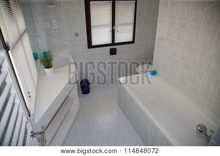 Bright Space - A Stone Washbasin On A Shelf