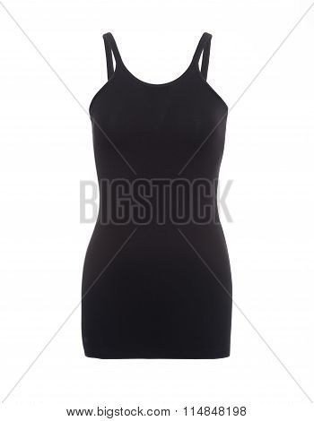 Plain Black Strap Top On Invisible Mannequin Cut-out