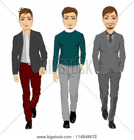 portrait of young men walking forward