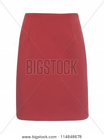 Cut-out Of Plain Rose Red Mini Skirt On Invisible Mannequin