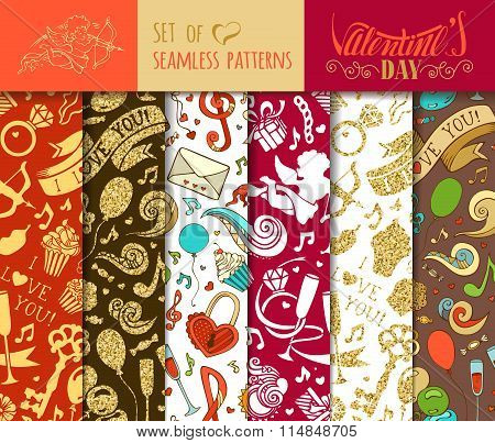 Vector Set Of Seamless Love Patterns.
