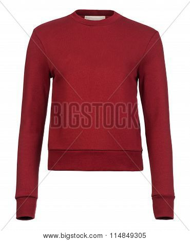 Cut-out Of Plain Maroon Ladies' Sweater Jumper On Invisible Mannequin
