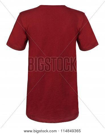 Rear Cut-out Of Plain Maroon Shirt On Invisible Mannequin