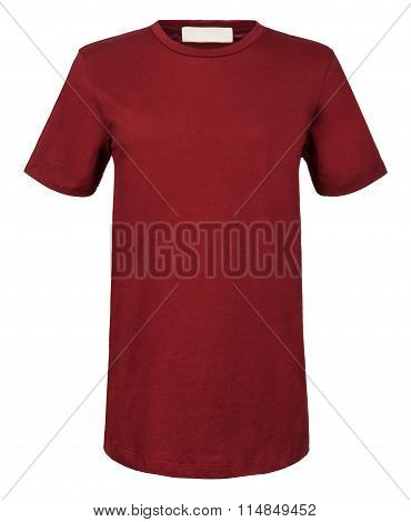 Cut-out Of Plain Maroon Shirt On Invisible Mannequin