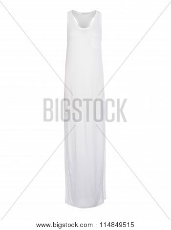 Cut-out Of Plain White Razorback Long Dress On Invisible Mannequin