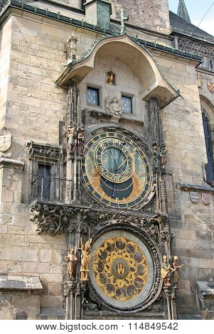 Prague, Czech Republic - April 16, 2010: Prague Astronomical Clock (prague Orloj) On The Wall Of Old