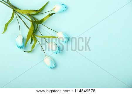 One Mulberry Paper Flowers Bouquet On Blue Background