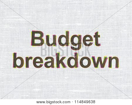 Finance concept: Budget Breakdown on fabric texture background