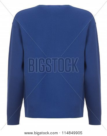 Rear Cut-out Of Blue Long-sleeved Shirt On Invisible Mannequin