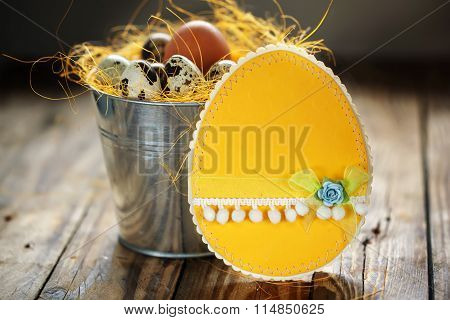 Yellow Easter Card And Quail Eggs In A Bucket, Easter Decoration