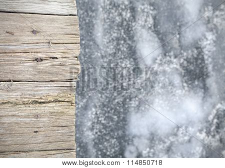 Old Wooden Pier On Ice, Abstract Background.