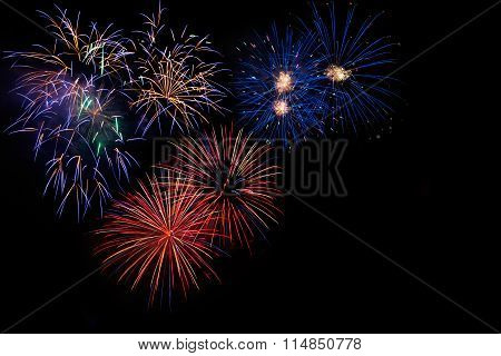 Colorful Red Golden Blue Fireworks