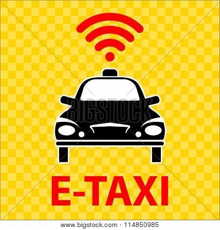 E-Taxi Wi-Fi Icon Symbol Vector Illustration