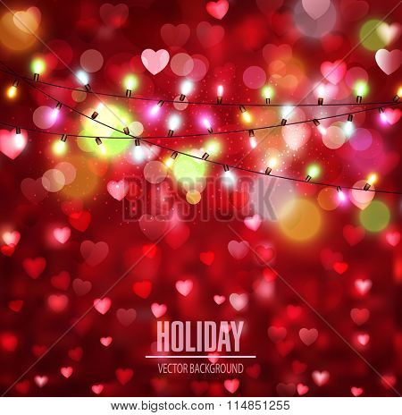 Vector festive background for Valentine's Day with hearts and glowing garland
