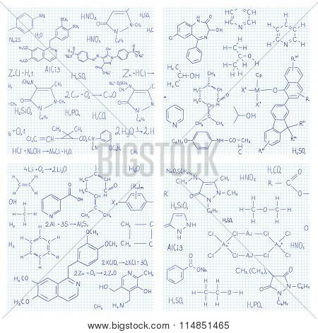 Collection of seamless vector backgrounds with chemistry formulas and equations on notebook page. Endless texture can be used for education or science design, wallpaper, pattern fills