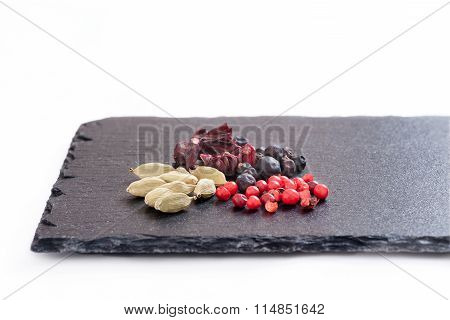 gin and tonic ingredients based on isolated blackboard with white background