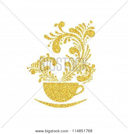 Vector Gold Glitter Cup of Coffee with Floral Aroma on White Background